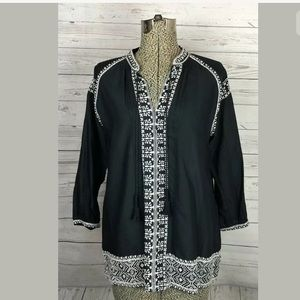 Madewell size xs black embroidered shirt